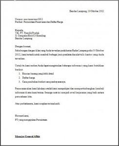 Contoh surat penawaran untuk permintaan barang