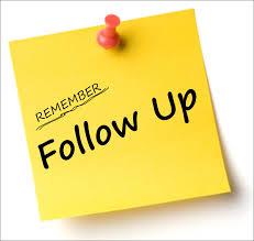 Jangan lupakan follow up